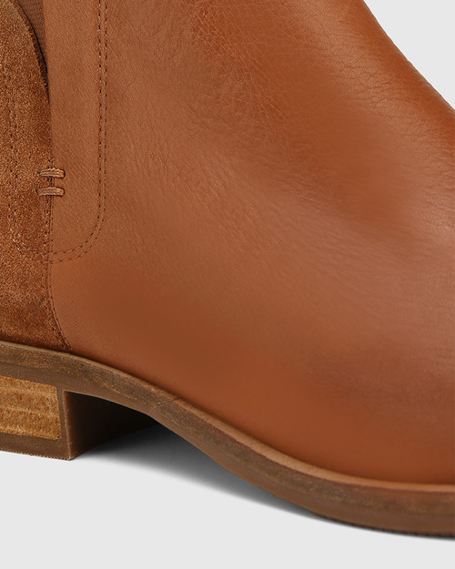 Conagh Cognac Leather And Tobacco Suede Ankle Boot