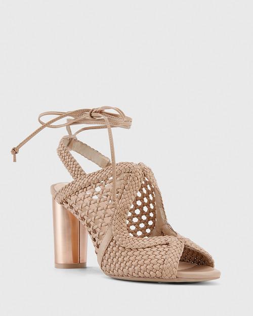 Rosy Nude Weave Block Heel Sandal.