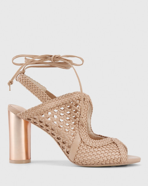 Rosy Nude Weave Block Heel Sandal. & Wittner & Wittner Shoes