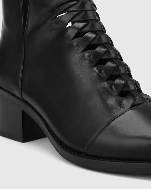 Jonny Black Leather Plaited Front Ankle Boot. & Wittner & Wittner Shoes
