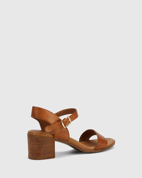 Kathleen Cognac Leather Open Toe Block Heel Sandal