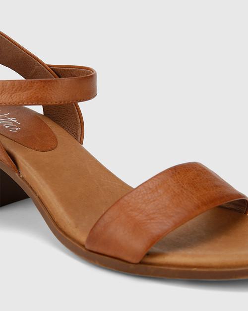 Kathleen Cognac Leather Open Toe Block Heel Sandal.