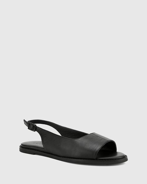Jinda Black Leather Open Toe Slingback Flat Sandal.