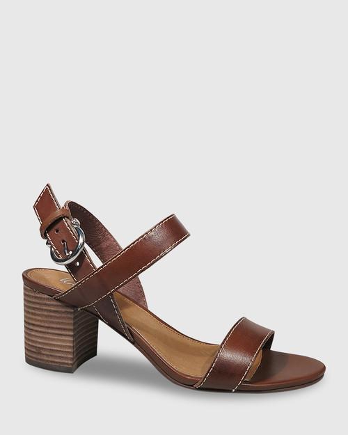 Neela Dark Brown Leather Contrast Stitch Sandal. & Wittner & Wittner Shoes
