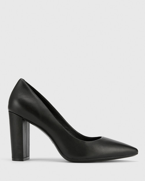 Hether Black Leather Pointed Toe Block Heel. & Wittner & Wittner Shoes