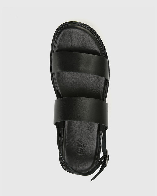 Tana Black Leather Slingback Flatform Sandal. & Wittner & Wittner Shoes