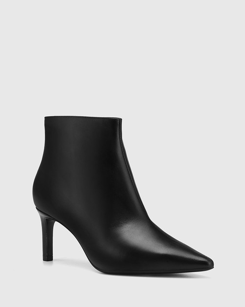 Phantom Black Leather Ankle Boot