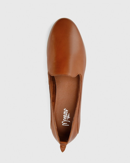 Caela Cognac Leather Loafer.