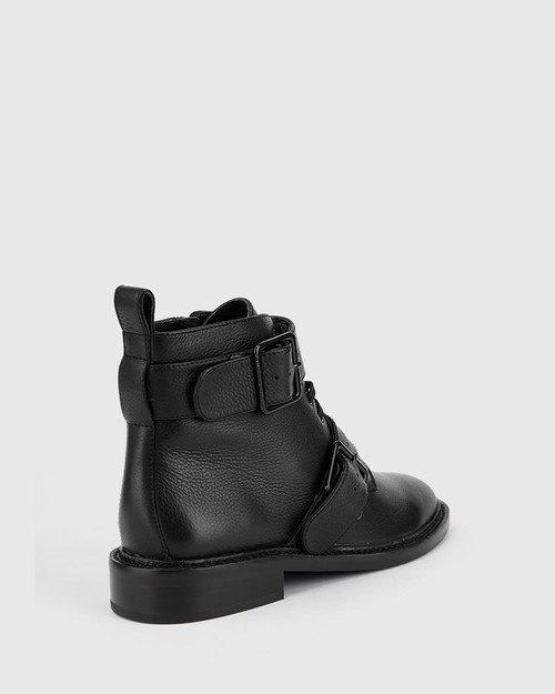 Braiden Black Leather Double Buckle Lace Up Ankle Boot. & Wittner & Wittner Shoes