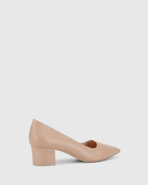 Gardenia New Flesh Leather Block Heel Pointed Toe Pump