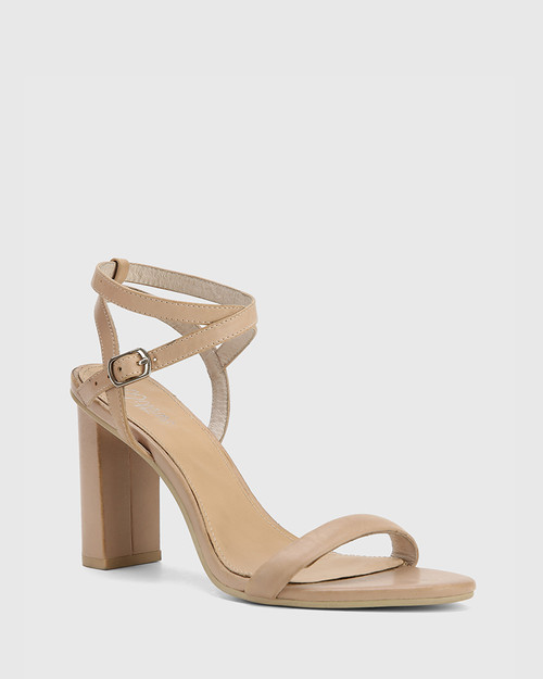 Raven Nude Leather Open Toe Block Heel.
