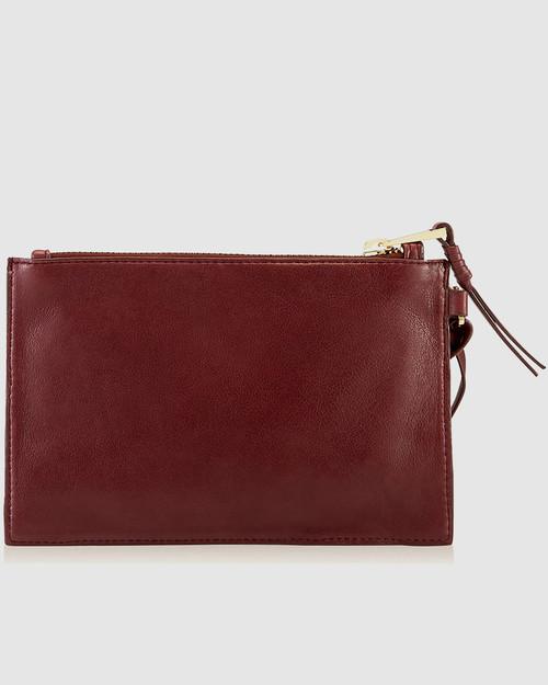 Bexley Burgundy Leather Minimalist Clutch