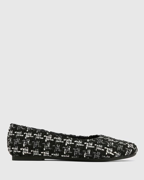 Art Black Tweed Boucle Round Toe Flat.