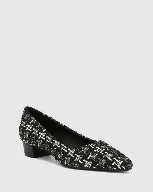 Armin Black Tweed Boucle Pointed Toe Low Block Heel