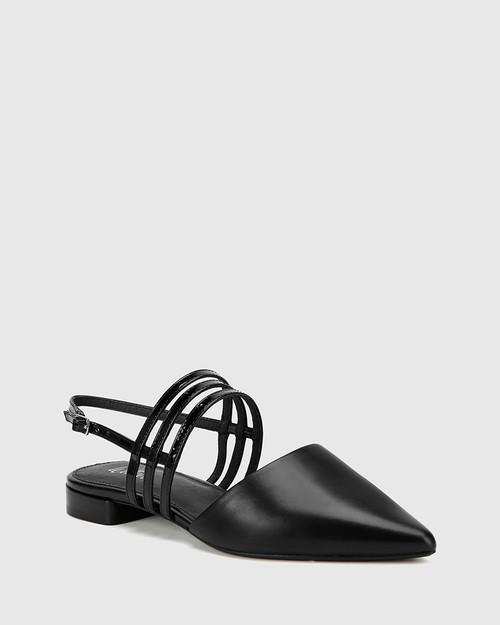 Mase Black Leather With Patent Straps Block Heel Flat