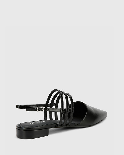 Mase Black Leather With Patent Straps Block Heel Flat