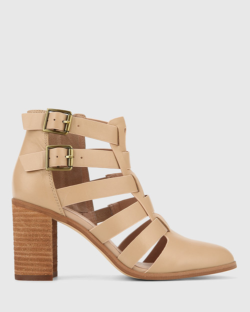Radcliffe Sesame Leather Strap Detail Block Heel Ankle Boot. & Wittner & Wittner Shoes