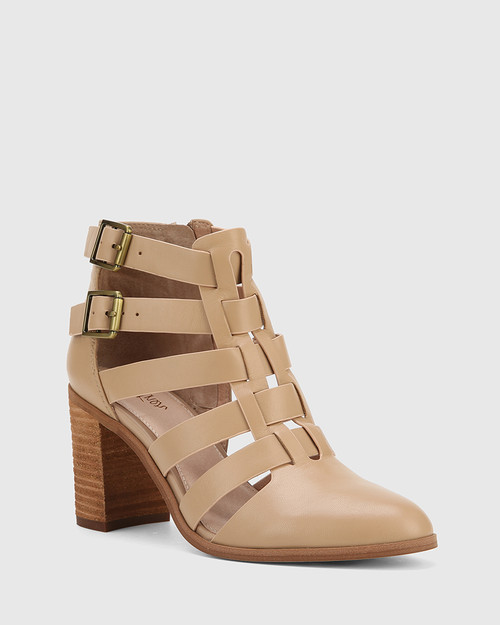 Radcliffe Sesame Leather Strap Detail Block Heel Ankle Boot.