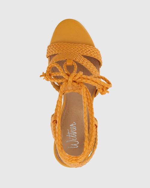 Ibitha Goldfish Yellow Weave Stiletto Heel Sandal. & Wittner & Wittner Shoes