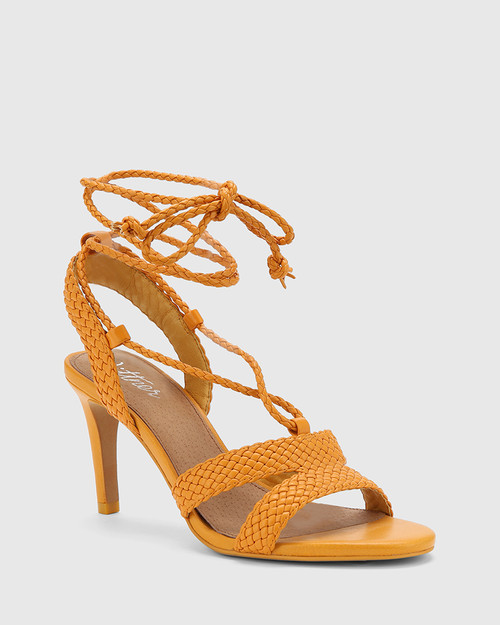 Ibitha Goldfish Yellow Weave Stiletto Heel Sandal.