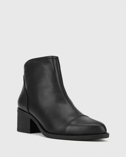 Jacey Black Leather Block Heel Ankle Boot
