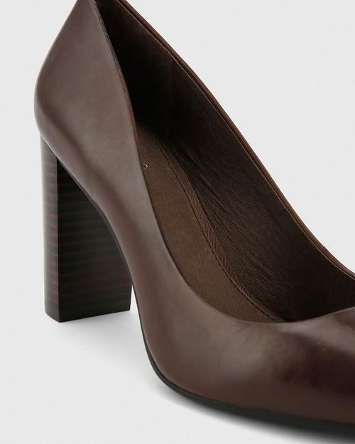 Hether Chocolate Leather Pointed Toe Block Heel. & Wittner & Wittner Shoes
