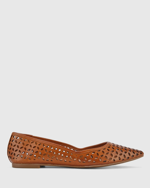 Prue Cognac Leather Perforated Pointed Toe Flat