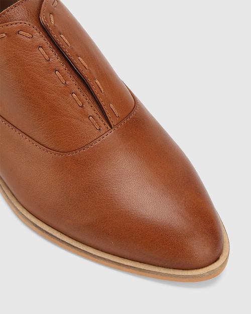Edyth Dark Cognac Leather Slip On Brogue. & Wittner & Wittner Shoes