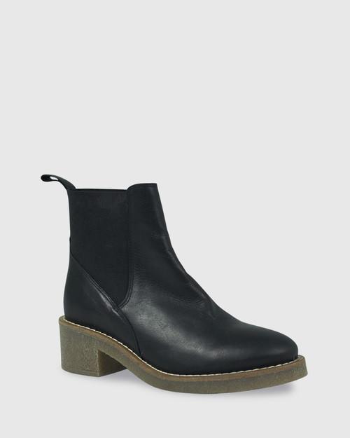 Kalinda Black Leather Stretch Round Toe Block Heel Ankle Boot.