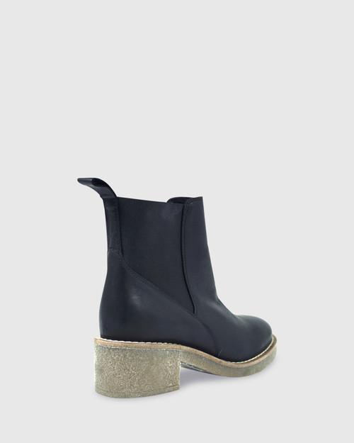Kalinda Black Leather Stretch Round Toe Block Heel Ankle Boot. & Wittner & Wittner Shoes