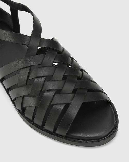 Jadore Black Leather Open Toe Flat Sandal. & Wittner & Wittner Shoes