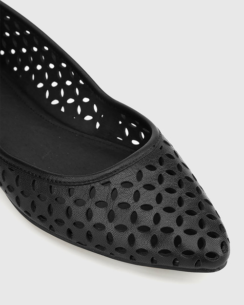 Prue Black Leather Perforated Pointed Toe Flat. & Wittner & Wittner Shoes