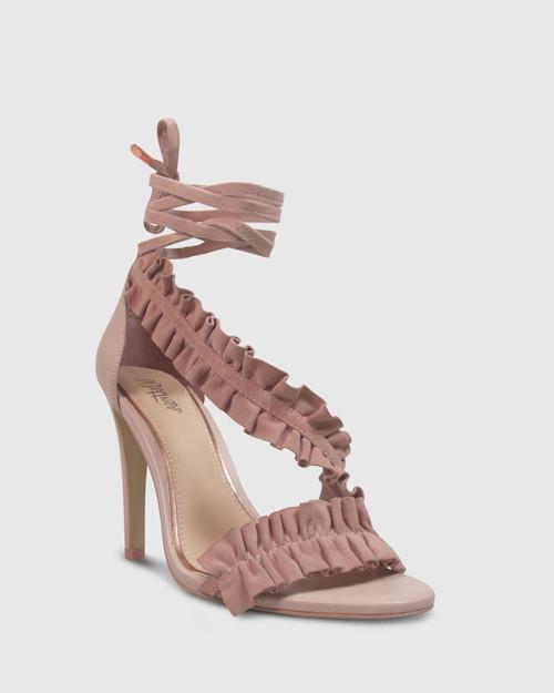 Aimee Powder Pink Suede Frill Detail Stiletto Heel Sandal.