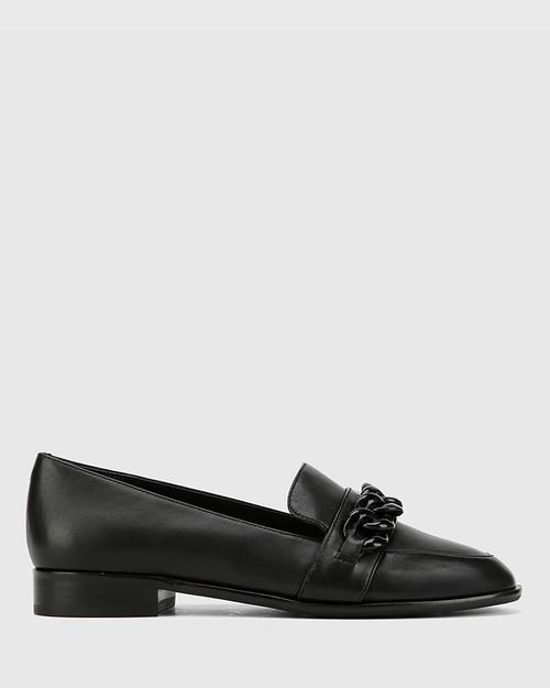 Haleida Black Leather Square Toe Trim Loafer. & Wittner & Wittner Shoes