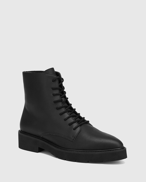 Carlina Black Leather Lace Up Ankle Boot