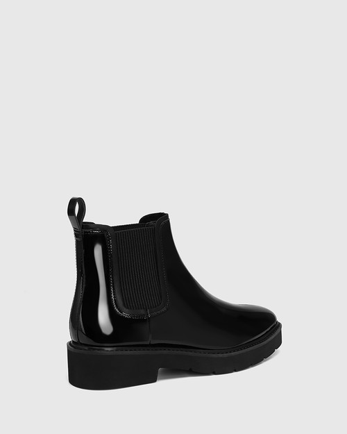 Comika Black Patent Leather Rubber Sole Ankle Boot