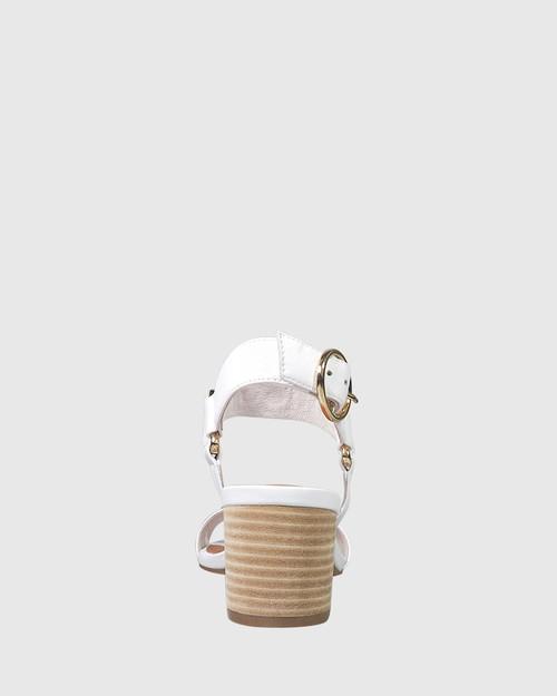 Alejandro White Leather Gold Stud Detail Block Heel Sandal. & Wittner & Wittner Shoes