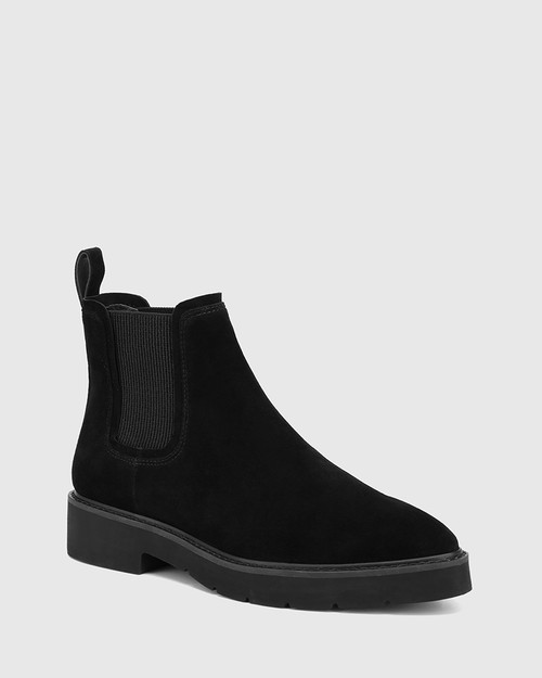 Comika Black Suede Leather Rubber Sole Ankle Boot
