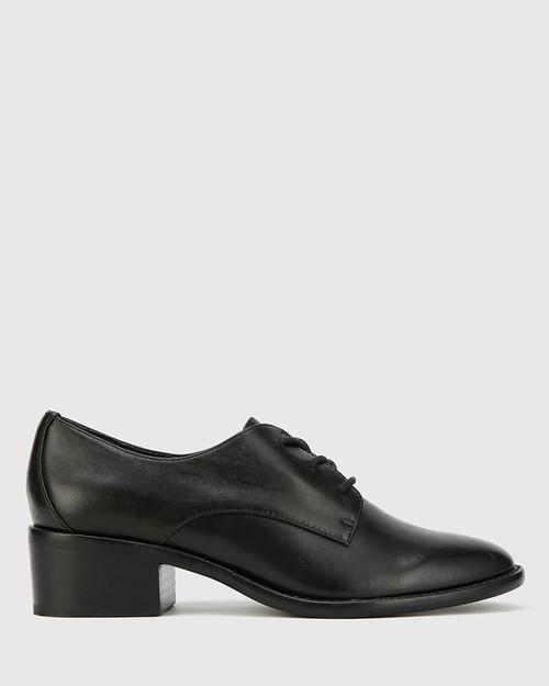 Farris Black Leather Block Heel Brogue. & Wittner & Wittner Shoes