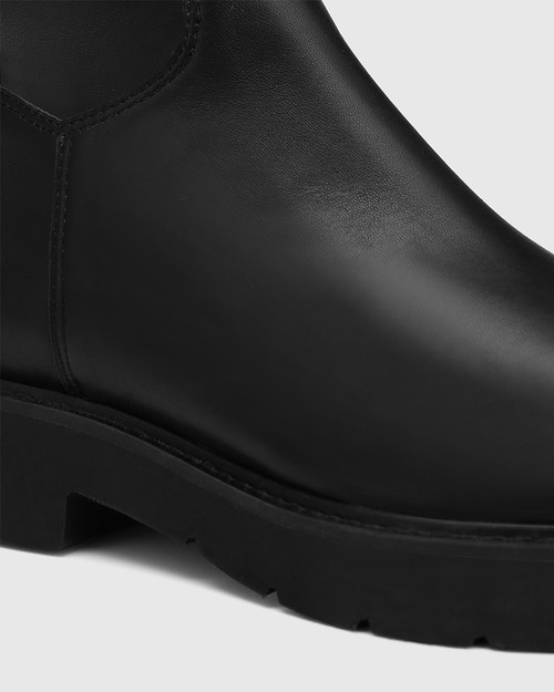 Chriska Black Leather and Stretch Pu Long Boot