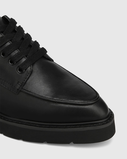 Casie Black Leather Lace Up Brogue