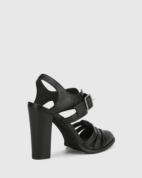 Winslow Black Leather Block Heel Almond Toe. & Wittner & Wittner Shoes