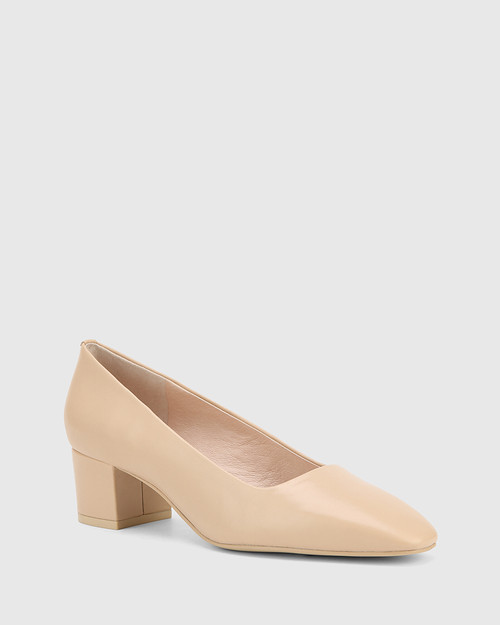 Gonzales Ecru Leather Square Toe Block Heel