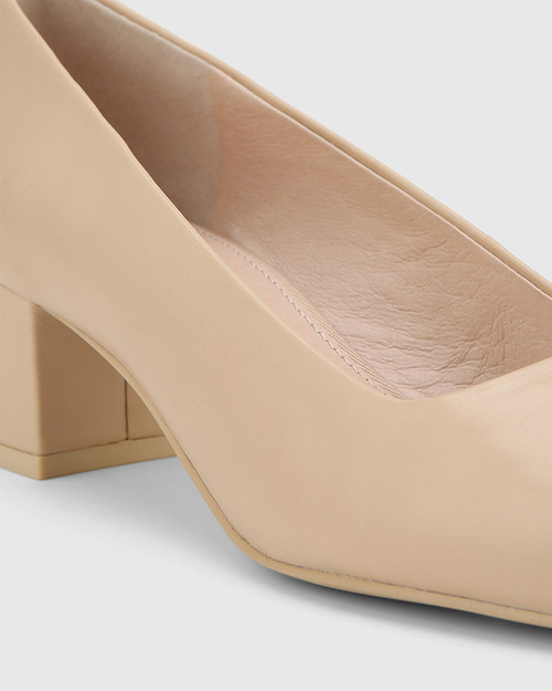 Gonzales Ecru Leather Square Toe Block Heel.