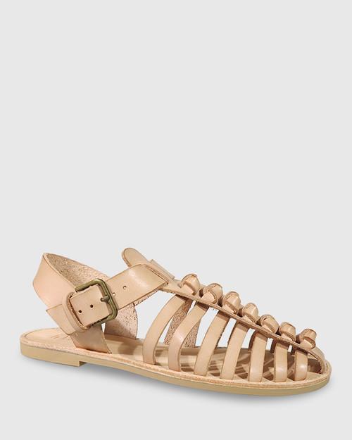 Capulet Nude Leather Flat Sandal.