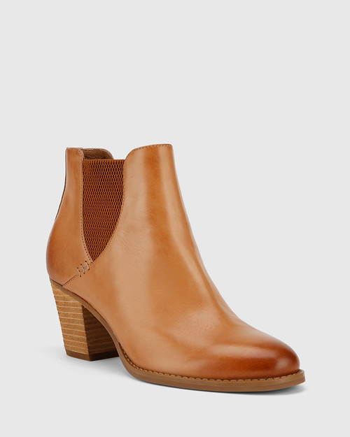 Kessie Tan Leather Round Toe Stack Heel Ankle Boot.