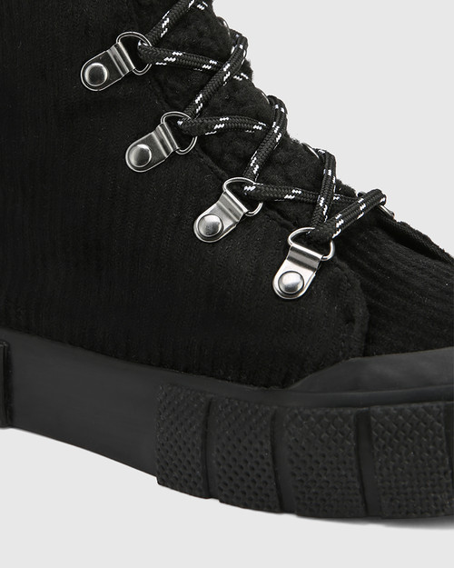 Xeno Black Corduroy High Top Sneaker