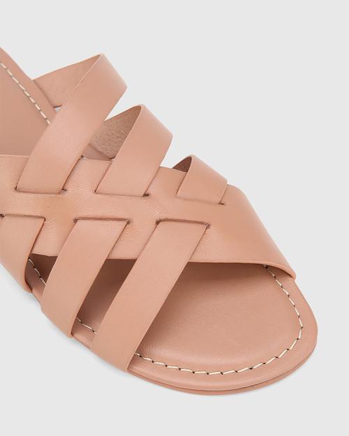 Caitlyn Petal Pink Leather Multi-Strap Slide. & Wittner & Wittner Shoes