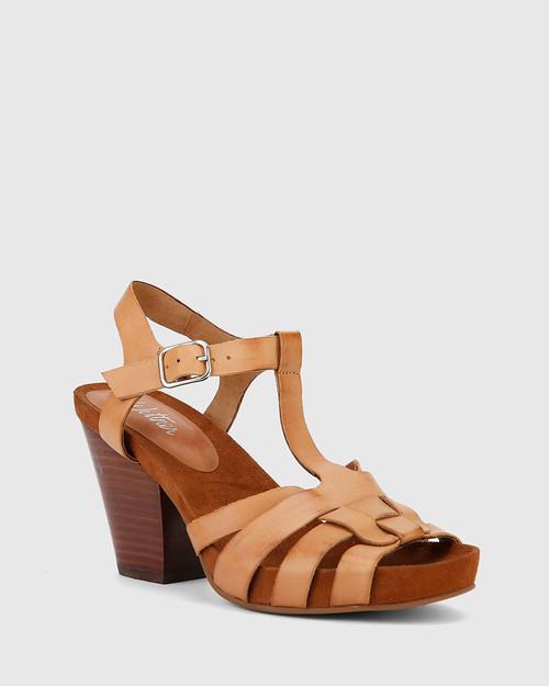 Carlino Tan Leather Block Heeled Sandal.