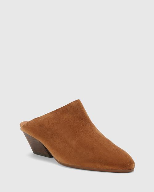 Kelsey Tobacco Suede Heeled Mule. & Wittner & Wittner Shoes
